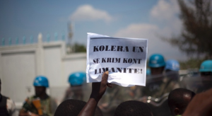 """""""UN cholera is a crime against humanity!"""" http://www.ctvnews.ca/health/un-must-provide-justice-for-haiti-cholera-victims-5-years-after-epidemic-activists-1.2608354"""